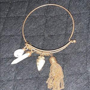 Jewelry - Gemstone Arrowhead Charm Gold Bangle Bracelet